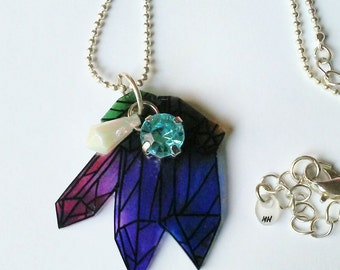Watercolor Crystal Necklace-Free Shipping