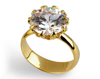 CROWN Gold Promise Ring, Solitaire Engagement Ring, Gold Statement Ring, CZ Engagement Ring, Gold CZ Ring