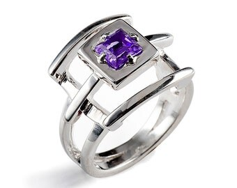 PAGODA Purple Amethyst Ring, Sterling Silver Amethyst Ring, Geometric Ring, Statement Ring, Cocktail Ring