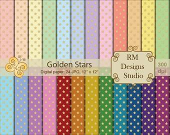 Golden Stars, Digital Paper, SALE, Set of 24, Color, Pastel, Design, Seamless pattern, Magic, Media, Pack,  Illustration, CL0085