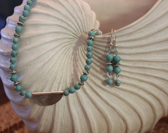 Magnesite Necklace with Sterling Silver Pendant