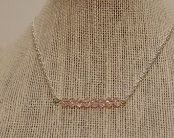 Pink Beaded Bar Necklace