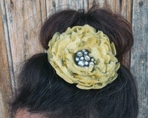 Flower Pin, Corsage, Brooch Pin, Hair Jewel. French Shabby fabric Flower, yellow organza, strass heart. Hand-dyed, painted & sewn in France.