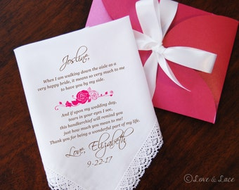 Wedding Handkerchief-PRINTED-Bridesmaid-Maid of Honor! FREE Gift Cases!!! Wedding Hankerchief-Gifts-Favors-Hankerchief-Bridesmaid-Wedding