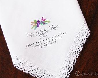 For Happy Tears-Wedding Handkerchief-PRINTED-FREE Gift Cases!!! Wedding Hankerchief-Gifts-Favors-Hankerchief-Bridesmaid-Bride-Mothers