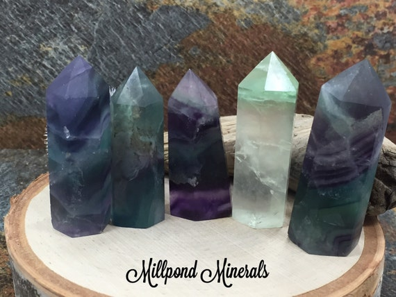 Rainbow Fluorite Tower Fluorite Tower Crystals Minerals Home Decor Green Purple Clear Obelisk Tower From Millpondminerals On Etsy Studio
