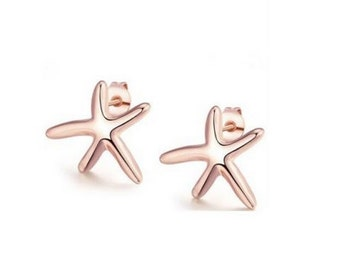 18K Rose Gold Plated Starfish Studded Earrings