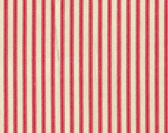 Cherry Red Ticking Stripe Cotton Fabric By-the-Yard