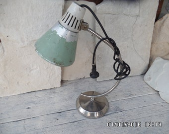 Industrial Desk Lamp Chrome Gooseneck Green Aluminium Shade Factory Workshop Office Lamp Lighting Mid Century