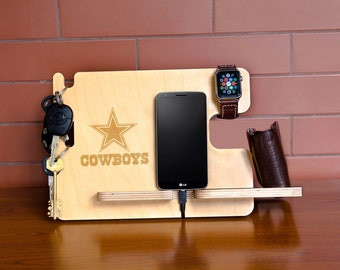 Dallas Cowboys team docking charging station, sports decor, custom personalized board, birthday gift idea