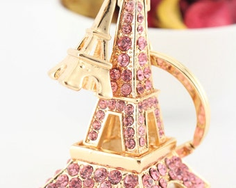 Eiffel Tower Keychain Monument Crystal Gift Present Cute Accessories 01150