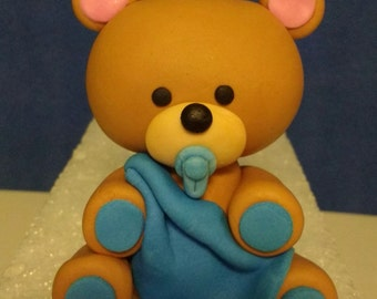 Fondant Teddy Bear with Blanket Cake Topper