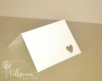 Blank Heart Place Cards/Place Settings Variety of Colours/Sizes