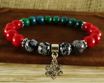 Mens christmas gift for holiday gift ideas xmas gifts Winter gift Xmas bracelet Snowflake bracelet Christmas bracelet Winter bracelet beads