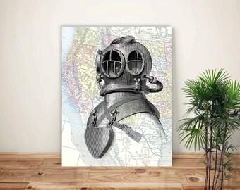 Nautical Art, Scuba Diver Helmet Print, Diving Art, Deep Sea Diver, Old Scaphander, Dive Helmet Illustration, Map Art, Scuba Diving Poster
