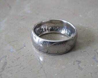1964 Kennedy Half Dollar Coin Ring- Silver (.900)