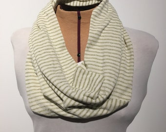 Infinity Scarf, Cream and Gold Striped Scarf, Infinity Loop, Double Loop Scarf, Jersey Knit Infinity Scarf,