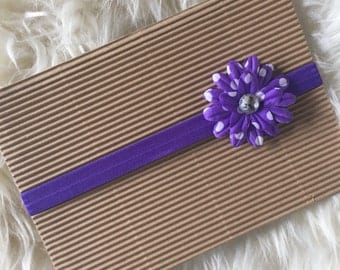 Purple with White Polka Dot Flower Headband, Newborn, Baby, Toddler, and Child Headband, Baby Hair Flower, Baby Bows