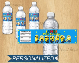 Minions Water Bottle Label, PERSONALIZED, Digital File