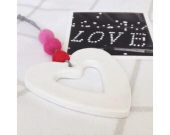 Love Heart Clay Pendant, Decoration, Felt Ball, Home, Nursery, Bedroom, Red, Pink