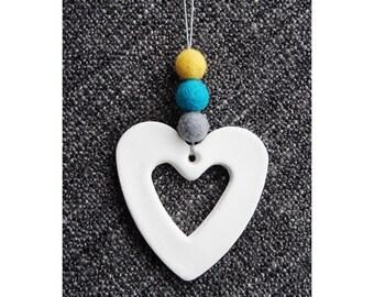 Custom Clay Heart Pendant, Decoration, Felt Ball, Home, Nursery, Bedroom, Customise