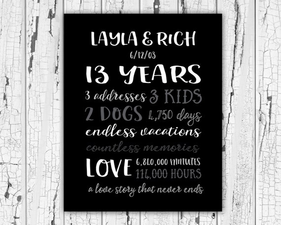 Gift For 13th Wedding Anniversary: 13 Year Wedding Anniversary Gifts For Her 13th Year