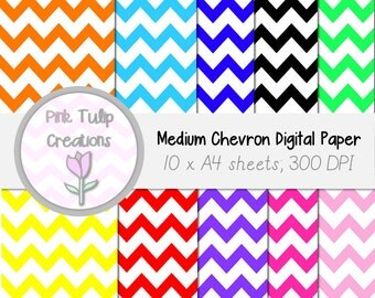 A4 Clip Art Backgrounds- Medium Colored Chevron x 10