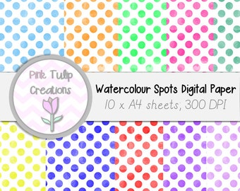 A4 Clip Art Backgrounds- Watercolor Circles x 10