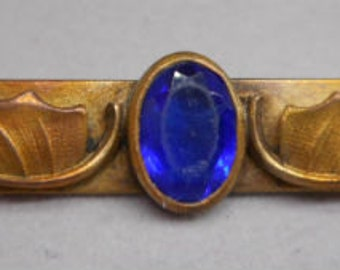 Antique Victorian Jewelry Bar Pin Brooch with Cobalt Blue Glass Stone