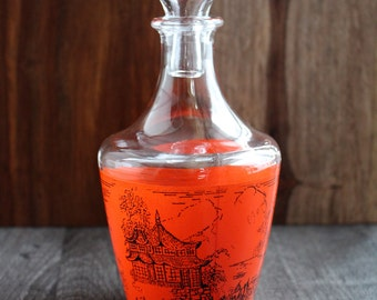 Red liquor decanter - Vintage red bottle - Vintage decanter - France decanter - Orange Retro