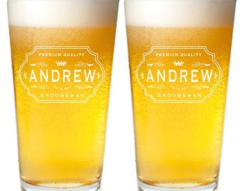 2 pcs Personalized Engrave Pint Glass - Groomsmen Gifts (MIC7)