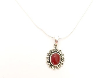 Silver And Carnelian Pendant, Sterling Silver Chain, Silver Charm, Silver Necklace, 925 Silver, Boho jewelry  Christmas Gift (P94)