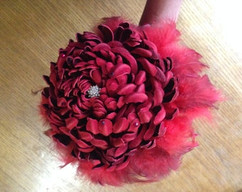 wedding bouquet chrysanthemum, red wedding bouquet, wedding red burgundy flower, bouquet Chrysanthemum leather