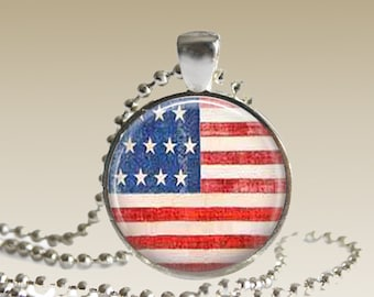 American Flag Jewelry Necklace Pendant Grunge Patriotic USA AFN1