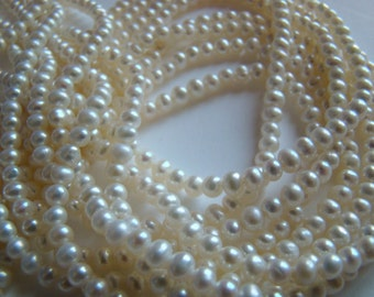 Freshwater Cultured Natural White Potato Pearls 4mm Size - One Strand