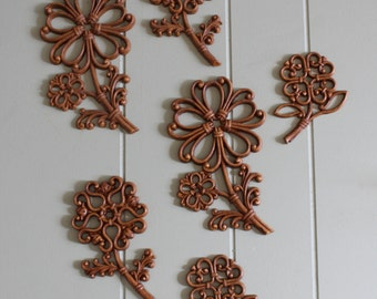 Vintage 70's Molded Plastic Flowers Wall Decor (set of 6)