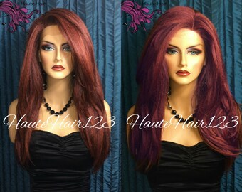 Copper Sangria Multi Tone Human Hair Blend Blow Out Red Lace Front Wig