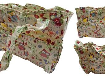 PVC Owls Trees Taupe Craft Bag 12x39x35cm