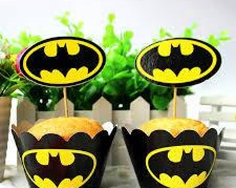12 Batman cupcake wrappers and toppers