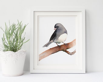 Junco print J149DL, downloadable bird print, printable art Junco, Black and white wall art, Junco watercolour painting print