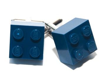 Dark Blue Lego Brick Cufflinks Wedding Cuff Link Gift Birthday With Gift Bag