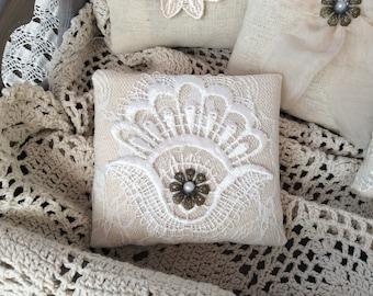 Vintage style lavender pillow