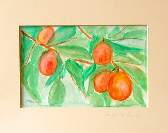 Smell of Fruity original watercolor painting by Miao Yeh, 12x10, abstract floral, portion of proceed supports Parkinson's reserach.