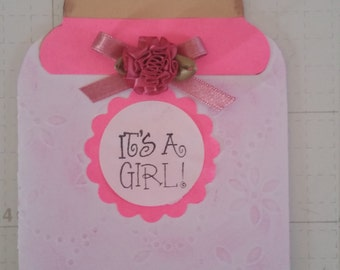 Set of ten, Very cute handmade baby bottle baby shower invitations or announcements.