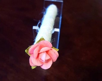 Perfectly Pink Rose Jute-wrapped Rustic Wedding Guest Book Handmade Flower Pen ITEM 232