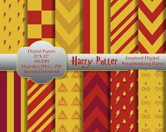 Harry Potter Inspired Digital Scrapbooking Paper Instant Download - Gryffindor