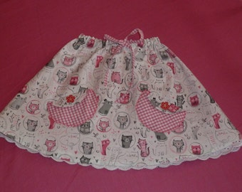 Age 2 to 5 Reversible Kitty Cat Skirt with 2 Pockets SALE - REDUCED!