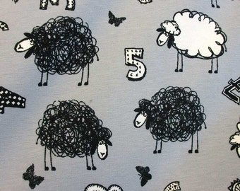 jersey spandex fabric stretch grey counting sheeps numbers sheep oekotex 100