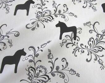 "cotton fabric canvas swedish horses black and white ""Kurbits"" Arvidssons"