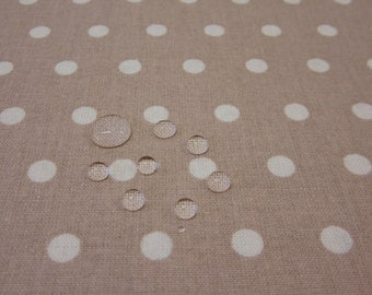 cotton fabric coated waterproof dots PEAS lightbeige 6mm from France